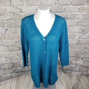 Kenneth Cole Select Cardigan Sweater XL Turquoise